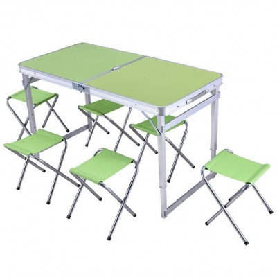 Складной туристический стол для пикника + 6 стульев