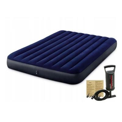 Надувной матрас двуспальный 152x203 с насосом и 2 подушками