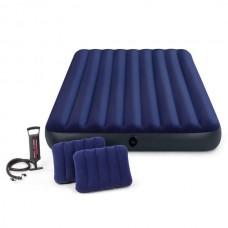 Надувной матрас двуспальный 152 x 203 с насосом и 2 подушками